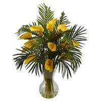 Nearly Natural 27-Inch Calla Lily and Areca Palm Artificial Arrangement in Yellow
