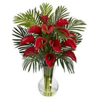 Nearly Natural 27-Inch Calla Lily and Areca Palm Artificial Arrangement in Red