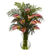 Nearly Natural 27-Inch Calla Lily and Areca Palm Artificial Arrangement in Pink