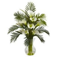 Nearly Natural 27-Inch Calla Lily and Areca Palm Artificial Arrangement in Cream