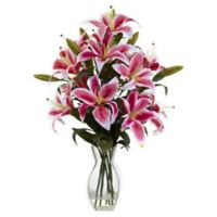 Nearly Natural 28-Inch Rubrum Lily in Reception Vase