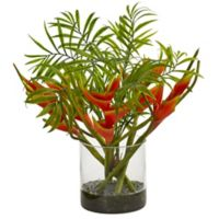 Nearly Natural 14-Inch Mini Artificial Heliconia and Palm Tropical Arrangement