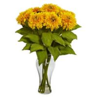 Nearly Natural Sunflower Arrangement with Vase