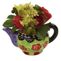 Nearly Natural 7-Inch Artificial Rose and Hydrangea with Decorative Vase