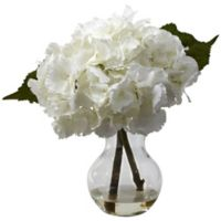 Nearly Natural 13-Inch Blooming Hydrangea Arrangement with Vase
