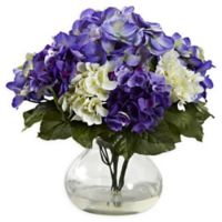 Nearly Natural 11-Inch Mixed Hydrangea Arrangement with Glass Vase