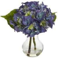Nearly Natural 13-Inch Artificial Blooming Hydrangea with Decorative Vase