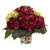 Nearly Natural™ 11-Inch Green/Burgundy Hydrangeas in Floral Planter