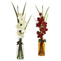 Nearly Natural 21-Inch Phalaenopsis Arrangements with Colored Jars (Set of 2)
