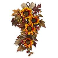 Nearly Natural 24-Inch Sunflower & Berry Teardrop Floral Arrangement