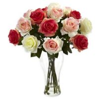 Nearly Natural 18-Inch Assorted Blooming Roses Floral Arrangment