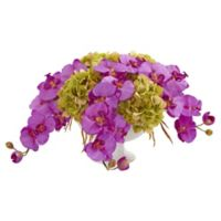 Nearly Natural Artificial Purple Phalaenopsis Orchid & Hydrangea Arrangement in Urn