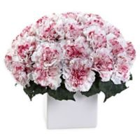 Nearly Natural Artificial White/Mauve Carnation Arrangement in Vase