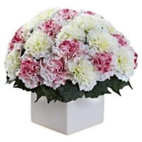 Nearly Natural Artificial Mauve/White Carnation Arrangement in Vase