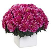 Nearly Natural Artificial Dark Pink Carnation Arrangement in Vase
