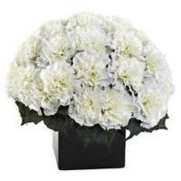 Nearly Natural Artificial Cream Carnation Arrangement in Vase