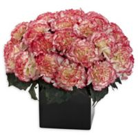 Nearly Natural Artificial Cream/Pink Carnation Arrangement in Vase