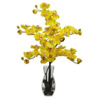 Nearly Natural Artificial Yellow Phalaenopsis Orchid Arrangement in Vase