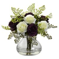 Nearly Natural Artificial Purple/White Rose & Maiden Hair Arrangement in Vase