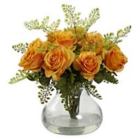 Nearly Natural Artificial Orange/Yellow Rose & Maiden Hair Arrangement in Vase