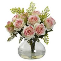 Nearly Natural Artificial Light Pink Rose & Maiden Hair Arrangement in Vase