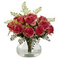 Nearly Natural Artificial Dark Pink Rose & Maiden Hair Arrangement in Vase