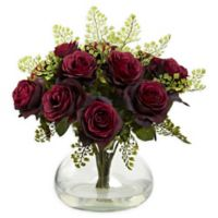 Nearly Natural Artificial Burgundy Rose & Maiden Hair Arrangement in Vase
