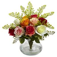 Nearly Natural Artificial Assorted Rose & Maiden Hair Arrangement in Vase