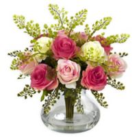 Nearly Natural Artificial Multicolor Rose & Maiden Hair Arrangement in Vase