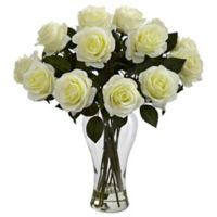 Nearly Natural 18-Inch Blooming Roses with Glass Vase in White