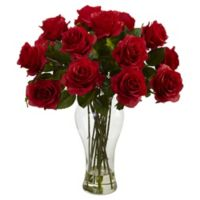 Nearly Natural 18-Inch Blooming Roses with Glass Vase in Red