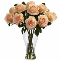 Nearly Natural 18-Inch Blooming Roses with Glass Vase in Peach