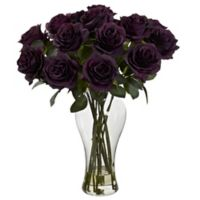 Nearly Natural 18-Inch Blooming Roses with Glass Vase in Purple
