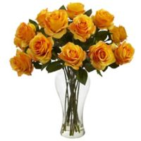 Nearly Natural 18-Inch Blooming Roses with Glass Vase in Orange/Yellow