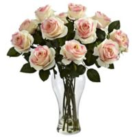 Nearly Natural 18-Inch Blooming Roses with Glass Vase in Light Pink