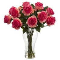 Nearly Natural 18-Inch Blooming Roses with Glass Vase in Dark Pink