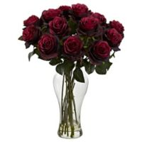 Nearly Natural 18-Inch Blooming Roses with Glass Vase in Burgundy