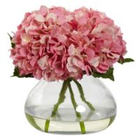 Nearly Natural 9-inch Large Faux Blooming Hydrangea with Glass Vase in Pink
