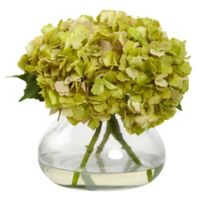 Nearly Natural 9-inch Large Faux Blooming Hydrangea with Glass Vase in Green