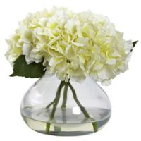 Nearly Natural 9-inch Large Faux Blooming Hydrangea with Glass Vase in Cream