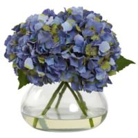 Nearly Natural 9-inch Large Faux Blooming Hydrangea with Glass Vase in Blue