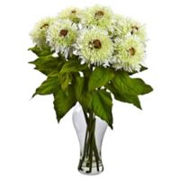 Nearly Natural 22.5-Inch Sunflower Artificial Arrangement with Glass Vase in White