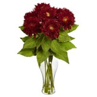Nearly Natural 22.5-Inch Sunflower Artificial Arrangement with Glass Vase in Red