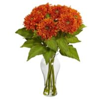 Nearly Natural 22.5-Inch Sunflower Artificial Arrangement with Glass Vase in Orange