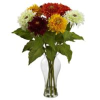Nearly Natural 22.5-Inch Sunflower Artificial Arrangement with Glass Vase in Multicolor