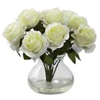 Nearly Natural 11-Inch Rose Artificial Arrangement with Glass Vase in White