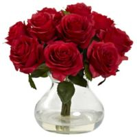 Nearly Natural 11-Inch Rose Artificial Arrangement with Glass Vase in Red