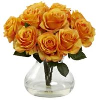 Nearly Natural 11-Inch Rose Artificial Arrangement with Glass Vase in Orange/Yellow