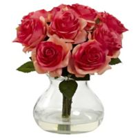 Nearly Natural 11-Inch Rose Artificial Arrangement with Glass Vase in Dark Pink