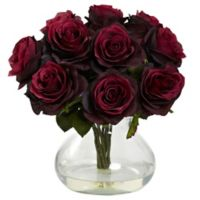 Nearly Natural 11-Inch Rose Artificial Arrangement with Glass Vase in Burgundy